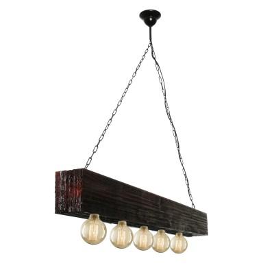 Аврора Борнео 10154-5L ЛюстраПодвесные<br><br><br>Крепление: крюк<br>Тип товара: Люстра<br>Тип лампы: Накаливания / энергосбережения / светодиодная<br>Тип цоколя: E27<br>Количество ламп: 5<br>MAX мощность ламп, Вт: 60<br>Размеры: 1300*120/1270<br>Оттенок (цвет): металл черного цвета, деревянные каркас цвета темный орех