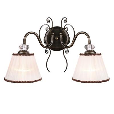 Аврора Софи 10156-2B Светильник настенный браКлассические<br><br><br>Тип лампы: Накаливания / энергосбережения / светодиодная<br>Тип цоколя: E14<br>Количество ламп: 2<br>Ширина, мм: 400<br>MAX мощность ламп, Вт: 40<br>Расстояние от стены, мм: 240<br>Высота, мм: 280<br>Оттенок (цвет): металл цвета чероное золото, абажуры из органзы с тесьмой, хрустальные элементы высшего качества
