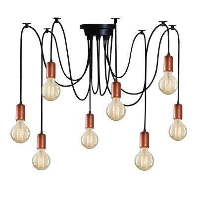 Аврора Нео 10162-8L Светильник потолочныйПодвесные<br>Серия потолочных светильников Нео изготовлена в двух вариантах на выбор - с деревянными декоративными цоколями и с декоративными металлическими каркасами, которые напоминают каркас абажуров. Все провода оснащены мини-креплением к потолку, с помощью которого можно создавать индивидуальный по своей геометрии светильник. Длину провода так же можно менять.<br><br>S освещ. до, м2: 24<br>Крепление: планка<br>Тип лампы: Накаливания / энергосбережения / светодиодная<br>Тип цоколя: E27<br>Количество ламп: 8<br>MAX мощность ламп, Вт: 60<br>Диаметр, мм мм: 400 - 1400<br>Высота, мм: 300 - 1200<br>Оттенок (цвет): металл черного цвета, деревянные цоколи цвета каштан