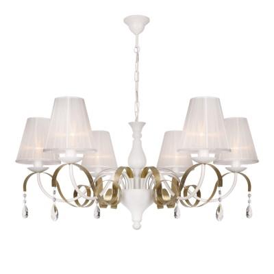 Аврора Веста 10166-6L ЛюстраПодвесные<br><br><br>Крепление: крюк<br>Тип товара: Люстра<br>Тип лампы: Накаливания / энергосбережения / светодиодная<br>Тип цоколя: E14<br>Количество ламп: 6<br>MAX мощность ламп, Вт: 40<br>Диаметр, мм мм: 860<br>Высота, мм: 410 - 1560<br>Оттенок (цвет): металл белого цвета, позолота декоративной металлической ленты, абажуры из белой органзы