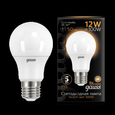 Лампа Gauss LED A60 12W E27 1150lm 3000K (102502112) 102502112_GAUSS