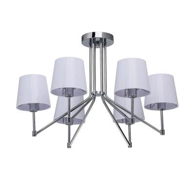 Mw light 103010206 СветильникПотолочные<br><br><br>S освещ. до, м2: 12<br>Тип лампы: Накаливания / энергосбережения / светодиодная<br>Тип цоколя: E27<br>Количество ламп: 6<br>MAX мощность ламп, Вт: 40<br>Диаметр, мм мм: 600<br>Высота, мм: 400<br>Цвет арматуры: серебристый