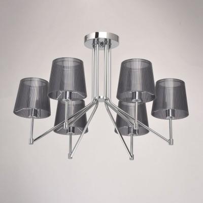 Mw light Лацио 103010506 Люстрасовременные потолочные люстры модерн<br><br><br>Установка на натяжной потолок: Да<br>S освещ. до, м2: 12<br>Тип лампы: Накаливания / энергосбережения / светодиодная<br>Тип цоколя: E14<br>Цвет арматуры: Серебристый хром<br>Количество ламп: 6<br>Диаметр, мм мм: 640<br>Высота, мм: 400<br>Оттенок (цвет): черный<br>MAX мощность ламп, Вт: 40