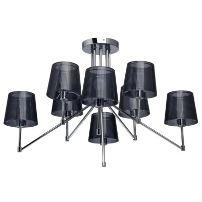 Mw light Лацио 103010608 ЛюстраПотолочные<br><br><br>Установка на натяжной потолок: Да<br>S освещ. до, м2: 16<br>Тип лампы: Накаливания / энергосбережения / светодиодная<br>Тип цоколя: E14<br>Цвет арматуры: Серебристый хром<br>Количество ламп: 8<br>Диаметр, мм мм: 800<br>Высота, мм: 500<br>Оттенок (цвет): черный<br>MAX мощность ламп, Вт: 40