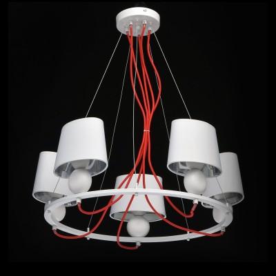 Mw light Лацио 103011505 ЛюстраПодвесные<br><br><br>Установка на натяжной потолок: Да<br>S освещ. до, м2: 10<br>Тип лампы: Накаливания / энергосбережения / светодиодная<br>Тип цоколя: E14<br>Цвет арматуры: белый<br>Количество ламп: 5<br>Диаметр, мм мм: 600<br>Высота, мм: 640<br>Оттенок (цвет): белый / красный<br>MAX мощность ламп, Вт: 40