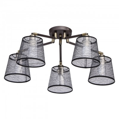 Светильник De Markt 103011705потолочные люстры лофт<br><br><br>S освещ. до, м2: 10<br>Тип лампы: накаливания / энергосбережения / LED-светодиодная<br>Тип цоколя: E14<br>Цвет арматуры: коричневый<br>Количество ламп: 5<br>Диаметр, мм мм: 800<br>Высота, мм: 420<br>MAX мощность ламп, Вт: 40