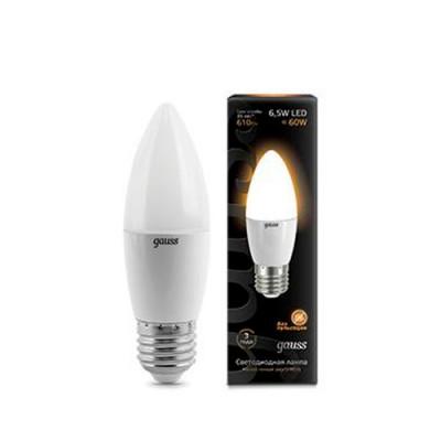 Лампа Gauss LED Candle E27 6.5W 2700КВ виде свечи<br>В интернет-магазине «Светодом» можно купить не только люстры и светильники, но и лампочки. В нашем каталоге представлены светодиодные, галогенные, энергосберегающие модели и лампы накаливания. В ассортименте имеются изделия разной мощности, поэтому у нас Вы сможете приобрести все необходимое для освещения.   Лампа Gauss 103102107 LED Candle E27 6.5W 100-240V 2700К обеспечит отличное качество освещения. При покупке ознакомьтесь с параметрами в разделе «Характеристики», чтобы не ошибиться в выборе. Там же указано, для каких осветительных приборов Вы можете использовать лампу Gauss 103102107 LED Candle E27 6.5W 100-240V 2700КGauss 103102107 LED Candle E27 6.5W 100-240V 2700К.   Для оформления покупки воспользуйтесь «Корзиной». При наличии вопросов Вы можете позвонить нашим менеджерам по одному из контактных номеров. Мы доставляем заказы в Москву, Екатеринбург и другие города России.<br><br>Цветовая t, К: WW - теплый белый 2700-3000 К<br>Тип лампы: LED - светодиодная<br>Тип цоколя: E27<br>MAX мощность ламп, Вт: 6,5<br>Диаметр, мм мм: 38<br>Высота, мм: 112