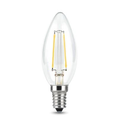 Лампа Gauss LED Filament Candle E14 5W 2700КВ виде свечи<br>В интернет-магазине «Светодом» можно купить не только люстры и светильники, но и лампочки. В нашем каталоге представлены светодиодные, галогенные, энергосберегающие модели и лампы накаливания. В ассортименте имеются изделия разной мощности, поэтому у нас Вы сможете приобрести все необходимое для освещения.   Лампа Gauss 103801105 обеспечит отличное качество освещения. При покупке ознакомьтесь с параметрами в разделе «Характеристики», чтобы не ошибиться в выборе. Там же указано, для каких осветительных приборов Вы можете использовать лампу Gauss 103801105Gauss 103801105.   Для оформления покупки воспользуйтесь «Корзиной». При наличии вопросов Вы можете позвонить нашим менеджерам по одному из контактных номеров. Мы доставляем заказы в Москву, Екатеринбург и другие города России.<br><br>Цветовая t, К: WW - теплый белый 2700-3000 К<br>Тип лампы: LED<br>Тип цоколя: E14<br>MAX мощность ламп, Вт: 5