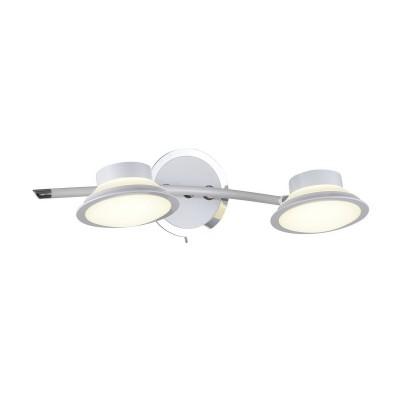 Спот настенный Simonta 104/2A-LEDWhiteОжидается<br><br><br>Крепление: Крепежная планка<br>Тип цоколя: LED<br>Цвет арматуры: Белый+хром<br>Количество ламп: 2<br>Ширина, мм: 170<br>Длина, мм: 410<br>Высота, мм: 105<br>Оттенок (цвет): Белый<br>MAX мощность ламп, Вт: 7