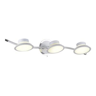 Спот настенный Simonta 104/3A-LEDWhiteОжидается<br><br><br>Крепление: Крепежная планка<br>Тип цоколя: LED<br>Цвет арматуры: Белый+хром<br>Количество ламп: 3<br>Ширина, мм: 170<br>Длина, мм: 550<br>Высота, мм: 120<br>Оттенок (цвет): Белый<br>MAX мощность ламп, Вт: 7