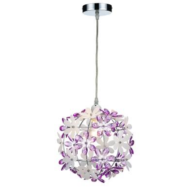 Подвес Lamplandia 1048-1 SHENON PURPLEОдиночные<br>Вид светильника: потолочный<br>Размер: 35 x 35 x 35<br>Мощность: 1*E27*60W<br>Материал: Металл, акрил<br><br>Крепление: потолочный<br>Тип товара: Подвес<br>Тип лампы: Накаливания / энергосбережения / светодиодная<br>Тип цоколя: E27<br>Количество ламп: 1<br>MAX мощность ламп, Вт: 60<br>Диаметр, мм мм: 350<br>Высота, мм: 350 - 1350<br>Цвет арматуры: серебристый хром