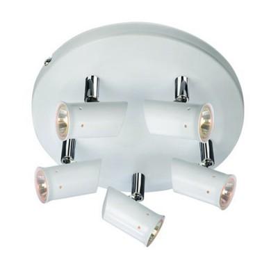 Светильник Markslojd 104848Более 5 ламп<br><br><br>Тип лампы: галогенная/LED<br>Тип цоколя: G4<br>Количество ламп: 5<br>MAX мощность ламп, Вт: 20<br>Диаметр, мм мм: 250<br>Высота, мм: 130<br>Цвет арматуры: белый/серебристый