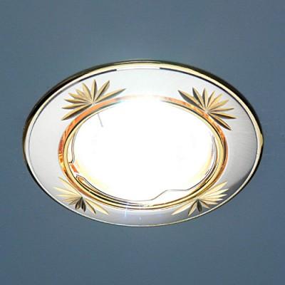104A SS/GD сатинированное серебро / золот Электростандарт Точечный светильникКруглые<br>Лампа: MR16 G5.3 max 50 Вт Диаметр: #216; 81 мм Высота внутренней части: ? 20 мм Высота внешней части: ? 4 мм Монтажное отверстие: #216; 76 мм Гарантия: 2 года Светильник имеет поворотный механизм.<br><br>S освещ. до, м2: 3<br>Тип лампы: галогенная<br>Тип цоколя: gu5.3<br>Цвет арматуры: Золотой<br>Количество ламп: 1<br>Диаметр, мм мм: 80<br>Диаметр врезного отверстия, мм: 75<br>Оттенок (цвет): сатин серебро<br>MAX мощность ламп, Вт: 50