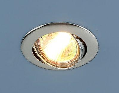 104S CH (хром) Электростандарт Точечный светильникТочечные светильники круглые<br>Лампа: MR16 G5.3 max 50 Вт Диаметр: #216; 79 мм Высота внутренней части: ? 20 мм Высота внешней части: ? 4 мм Монтажное отверстие: #216; 76 мм Гарантия: 2 года Светильник имеет поворотный механизм<br><br>Тип лампы: галогенная<br>Тип цоколя: gu5.3<br>Диаметр, мм мм: 81<br>Диаметр врезного отверстия, мм: 75<br>MAX мощность ламп, Вт: 50