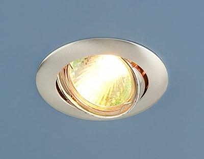 104S SS (сатинированное серебро) Электростандарт Точечный светильникТочечные светильники круглые<br>Лампа: MR16 G5.3 max 50 Вт Диаметр: #216; 79 мм Высота внутренней части: ? 20 мм Высота внешней части: ? 4 мм Монтажное отверстие: #216; 76 мм Гарантия: 2 года Светильник имеет поворотный механизм<br><br>Тип лампы: галогенная<br>Тип цоколя: gu5.3<br>Диаметр, мм мм: 81<br>Диаметр врезного отверстия, мм: 75<br>MAX мощность ламп, Вт: 50