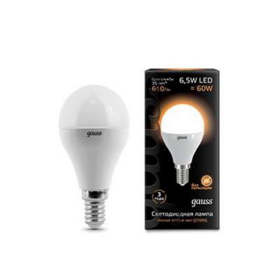 Лампа Gauss LED Globe E14 6.5W 2700KСтандартный вид<br>В интернет-магазине «Светодом» можно купить не только люстры и светильники, но и лампочки. В нашем каталоге представлены светодиодные, галогенные, энергосберегающие модели и лампы накаливания. В ассортименте имеются изделия разной мощности, поэтому у нас Вы сможете приобрести все необходимое для освещения.   Лампа Gauss 105101107 LED Globe E14 6.5W 100-240V 2700K обеспечит отличное качество освещения. При покупке ознакомьтесь с параметрами в разделе «Характеристики», чтобы не ошибиться в выборе. Там же указано, для каких осветительных приборов Вы можете использовать лампу Gauss 105101107 LED Globe E14 6.5W 100-240V 2700KGauss 105101107 LED Globe E14 6.5W 100-240V 2700K.   Для оформления покупки воспользуйтесь «Корзиной». При наличии вопросов Вы можете позвонить нашим менеджерам по одному из контактных номеров. Мы доставляем заказы в Москву, Екатеринбург и другие города России.<br><br>Цветовая t, К: WW - теплый белый 2700-3000 К<br>Тип лампы: LED - светодиодная<br>Тип цоколя: E14<br>Диаметр, мм мм: 45<br>Высота, мм: 87<br>MAX мощность ламп, Вт: 6,5