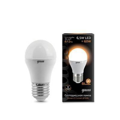 Лампа Gauss LED Globe E27 6.5W 2700KСтандартный вид<br>В интернет-магазине «Светодом» можно купить не только люстры и светильники, но и лампочки. В нашем каталоге представлены светодиодные, галогенные, энергосберегающие модели и лампы накаливания. В ассортименте имеются изделия разной мощности, поэтому у нас Вы сможете приобрести все необходимое для освещения.   Лампа Gauss 105102107 LED Globe E27 6.5W 100-240V 2700K 1/10/50 обеспечит отличное качество освещения. При покупке ознакомьтесь с параметрами в разделе «Характеристики», чтобы не ошибиться в выборе. Там же указано, для каких осветительных приборов Вы можете использовать лампу Gauss 105102107 LED Globe E27 6.5W 100-240V 2700K 1/10/50Gauss 105102107 LED Globe E27 6.5W 100-240V 2700K 1/10/50.   Для оформления покупки воспользуйтесь «Корзиной». При наличии вопросов Вы можете позвонить нашим менеджерам по одному из контактных номеров. Мы доставляем заказы в Москву, Екатеринбург и другие города России.<br><br>Цветовая t, К: WW - теплый белый 2700-3000 К<br>Тип лампы: LED - светодиодная<br>Тип цоколя: E27<br>Диаметр, мм мм: 45<br>Высота, мм: 87<br>MAX мощность ламп, Вт: 6,5