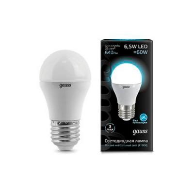 Лампа Gauss LED Globe E27 6.5W 4100KСтандартный вид<br>В интернет-магазине «Светодом» можно купить не только люстры и светильники, но и лампочки. В нашем каталоге представлены светодиодные, галогенные, энергосберегающие модели и лампы накаливания. В ассортименте имеются изделия разной мощности, поэтому у нас Вы сможете приобрести все необходимое для освещения.   Лампа Gauss 105102207 LED Globe E27 6.5W 100-240V 4100K 1/10/50 обеспечит отличное качество освещения. При покупке ознакомьтесь с параметрами в разделе «Характеристики», чтобы не ошибиться в выборе. Там же указано, для каких осветительных приборов Вы можете использовать лампу Gauss 105102207 LED Globe E27 6.5W 100-240V 4100K 1/10/50Gauss 105102207 LED Globe E27 6.5W 100-240V 4100K 1/10/50.   Для оформления покупки воспользуйтесь «Корзиной». При наличии вопросов Вы можете позвонить нашим менеджерам по одному из контактных номеров. Мы доставляем заказы в Москву, Екатеринбург и другие города России.<br><br>Цветовая t, К: CW - холодный белый 4000 К<br>Тип лампы: LED - светодиодная<br>Тип цоколя: E27<br>MAX мощность ламп, Вт: 6,5<br>Диаметр, мм мм: 45<br>Высота, мм: 87