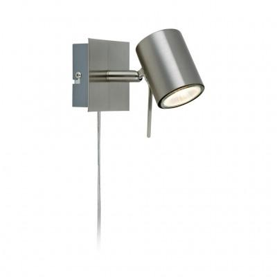 Светильник Markslojd 105482Одиночные<br><br><br>Тип лампы: галогенная/LED<br>Тип цоколя: GU10<br>Количество ламп: 1<br>Ширина, мм: 65<br>MAX мощность ламп, Вт: 50<br>Расстояние от стены, мм: 150<br>Высота, мм: 90<br>Цвет арматуры: серебристый