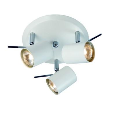 Светильник Markslojd 105483Тройные<br><br><br>Тип лампы: галогенная/LED<br>Тип цоколя: GU10<br>Количество ламп: 3<br>MAX мощность ламп, Вт: 50<br>Диаметр, мм мм: 250<br>Высота, мм: 145<br>Цвет арматуры: белый
