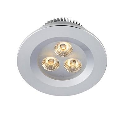 Светильник Markslojd 105800Круглые<br><br><br>Цветовая t, К: 3000<br>Тип лампы: LED<br>Тип цоколя: LED<br>Количество ламп: 3<br>MAX мощность ламп, Вт: 3<br>Диаметр, мм мм: 90<br>Диаметр врезного отверстия, мм: 70<br>Высота, мм: 46<br>Цвет арматуры: серебристый
