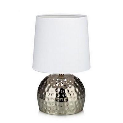 Светильник Markslojd 105961Современные<br>Настольная лампа – это не просто источник дополнительного освещения, но и оригинальный элемент декора. Его можно установить в спальне, гостиной, кабинете и других комнатах. Интернет-магазин «Светодом» предлагает настольные лампы разных стилей по доступным ценам. Благодаря большому ассортименту Вы обязательно найдете в нашем каталоге именно ту модель, которую искали.   Настольная лампа MarkSlojd 105961 – прекрасный вариант для завершения интерьера. Ее можно включить одновременно с люстрой для более яркого освещения или без нее для создания уютной атмосферы, настраивающей на отдых.   Купить настольную лампу MarkSlojd 105961 Вы можете с помощью виртуальной «Корзины» или по контактным номерам, указанным на сайте.<br><br>Тип лампы: Накаливания / энергосбережения / светодиодная<br>Тип цоколя: E14<br>Количество ламп: 1<br>MAX мощность ламп, Вт: 40<br>Диаметр, мм мм: 140<br>Высота, мм: 270<br>Цвет арматуры: серебристый