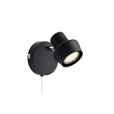 Светильник Markslojd 106084Одиночные<br><br><br>Тип лампы: галогенная/LED<br>Тип цоколя: GU10<br>Цвет арматуры: черный<br>Количество ламп: 1<br>Ширина, мм: 115<br>Расстояние от стены, мм: 135<br>Высота, мм: 115<br>MAX мощность ламп, Вт: 35