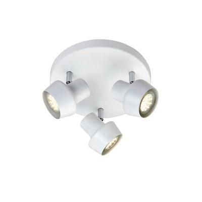 Светильник Markslojd 106086Тройные<br><br><br>S освещ. до, м2: 6<br>Тип лампы: галогенная/LED<br>Тип цоколя: GU10<br>Цвет арматуры: белый<br>Количество ламп: 3<br>Диаметр, мм мм: 235<br>Высота, мм: 115<br>MAX мощность ламп, Вт: 35
