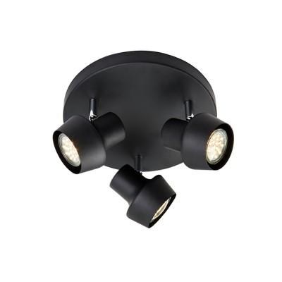 Светильник Markslojd 106087Тройные<br><br><br>Тип лампы: галогенная/LED<br>Тип цоколя: GU10<br>Цвет арматуры: черный<br>Количество ламп: 3<br>Диаметр, мм мм: 235<br>Высота, мм: 135<br>MAX мощность ламп, Вт: 35