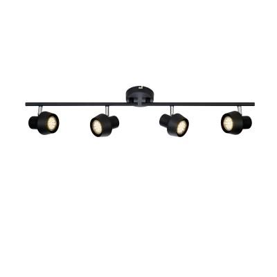 Светильник Markslojd 106090С 4 лампами<br><br><br>S освещ. до, м2: 7<br>Тип лампы: галогенная/LED<br>Тип цоколя: GU10<br>Цвет арматуры: черный<br>Количество ламп: 4<br>Ширина, мм: 165<br>Длина, мм: 445<br>Высота, мм: 140<br>MAX мощность ламп, Вт: 35