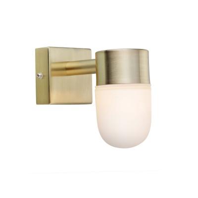 Светильник Markslojd 106374современные бра модерн<br><br><br>Тип лампы: галогенная/LED - светодиодная<br>Тип цоколя: G9<br>Цвет арматуры: латунь<br>Количество ламп: 1<br>Ширина, мм: 110<br>Расстояние от стены, мм: 65<br>Высота, мм: 140<br>Поверхность арматуры: блестящая<br>Оттенок (цвет): латунь