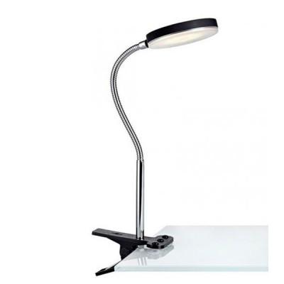 Светильник Markslojd 106471На прищепке<br>Настольная лампа – это не просто источник дополнительного освещения, но и оригинальный элемент декора. Его можно установить в спальне, гостиной, кабинете и других комнатах. Интернет-магазин «Светодом» предлагает настольные лампы разных стилей по доступным ценам. Благодаря большому ассортименту Вы обязательно найдете в нашем каталоге именно ту модель, которую искали.   Настольная лампа MarkSlojd 106471 – прекрасный вариант для завершения интерьера. Ее можно включить одновременно с люстрой для более яркого освещения или без нее для создания уютной атмосферы, настраивающей на отдых.   Купить настольную лампу MarkSlojd 106471 Вы можете с помощью виртуальной «Корзины» или по контактным номерам, указанным на сайте.<br><br>Тип лампы: LED<br>Тип цоколя: LED<br>Ширина, мм: 100<br>MAX мощность ламп, Вт: 5<br>Высота, мм: 360<br>Цвет арматуры: серебристый