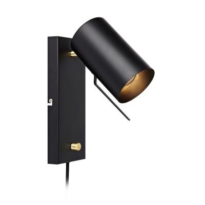 Светильник Markslojd 106587 CARRIE Wall BlackБра хай тек стиля<br><br><br>Тип лампы: галогенная/LED - светодиодная<br>Тип цоколя: GU10<br>Цвет арматуры: черный<br>Количество ламп: 1<br>Ширина, мм: 95<br>Расстояние от стены, мм: 200<br>Высота, мм: 260<br>Поверхность арматуры: матовая<br>Оттенок (цвет): черный<br>MAX мощность ламп, Вт: 35