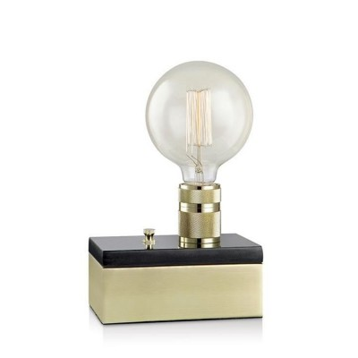 Настольная лампа Markslojd 106618 ETUI Table 1L Brass/Black Marble/Brassнастольные лампы лофт<br><br><br>Тип лампы: Накаливания / энергосбережения / светодиодная<br>Тип цоколя: E27<br>Количество ламп: 1<br>Ширина, мм: 113<br>Длина, мм: 180<br>Высота, мм: 150<br>Поверхность арматуры: блестящая<br>Оттенок (цвет): латунь<br>MAX мощность ламп, Вт: 60