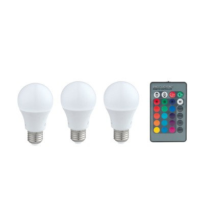 Eglo 10681 Лампа светодиодная диммируемая RGB с пультом упр-я A60, 3х7,5W (E27), 3000K, 470lm,Диммируемые<br><br><br>Цветовая t, К: 3000<br>Тип лампы: LED<br>Тип цоколя: E27<br>MAX мощность ламп, Вт: 7.5<br>Диаметр, мм мм: 60<br>Высота, мм: 110