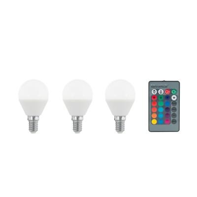 Eglo 10683 Лампа светодиодная диммируемая RGB с пультом упр-я P45, 3х4W (E14), 3000K, 300lm, 3Диммируемые<br><br><br>Цветовая t, К: 3000<br>Тип лампы: LED<br>Тип цоколя: E14<br>MAX мощность ламп, Вт: 4<br>Диаметр, мм мм: 45<br>Высота, мм: 80