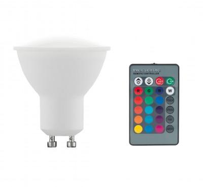 Купить Eglo 10686 Лампа светодиодная диммируемая RGB с пультом упр-я, 4W (GU10), 3000K, 220lm, Венгрия