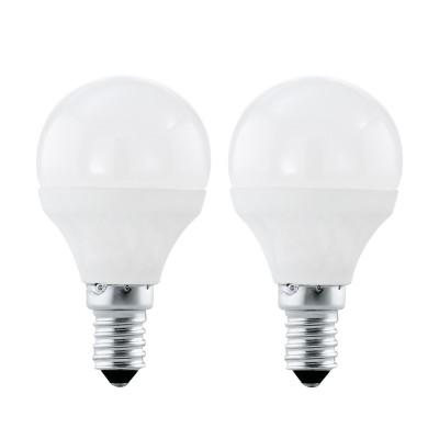Eglo 10775 Лампа светодиодная P45, 2х4W (Е14), 3000K, 320lm, 2шт. в комплектеСтандартный вид<br><br><br>Цветовая t, К: 3000<br>Тип лампы: LED<br>Тип цоколя: E14<br>MAX мощность ламп, Вт: 4<br>Диаметр, мм мм: 45<br>Высота, мм: 79
