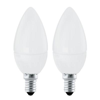 Eglo 10792 Лампа светодиодная Свеча, 2х4W (E14), 3000K, 320lm, 2 шт. в комплектеВ виде свечи<br><br><br>Цветовая t, К: 3000<br>Тип лампы: LED<br>Тип цоколя: E14<br>Количество ламп: 2<br>Диаметр, мм мм: 37<br>Высота, мм: 99<br>MAX мощность ламп, Вт: 4