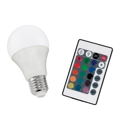 Eglo 10899 Лампа светодиодная диммируемая RGB с пультом упр-я A60, 7,5W (E27), 3000K, 470lmСтандартный вид<br><br><br>Цветовая t, К: RGB<br>Тип лампы: LED<br>Тип цоколя: E27<br>Диаметр, мм мм: 60<br>Высота, мм: 110<br>MAX мощность ламп, Вт: 7.5