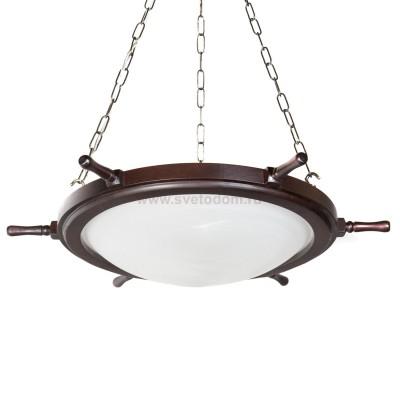 Светильник штурвал подвесной Дубравия 185-53-13 ШТУРВАЛМорской стиль<br>Люстра ШТУРВАЛ 3хЕ27х40W<br><br>Установка на натяжной потолок: Да<br>S освещ. до, м2: 10<br>Крепление: Планка<br>Тип лампы: накаливания / энергосбережения / LED-светодиодная<br>Тип цоколя: E27<br>Количество ламп: 3<br>Ширина, мм: 650<br>MAX мощность ламп, Вт: 40<br>Диаметр, мм мм: 650<br>Длина, мм: 650<br>Высота, мм: 1200<br>Оттенок (цвет): белый<br>Цвет арматуры: венге