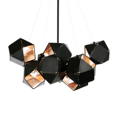 1132/71/10C Colosseo LUX Светильник подвесной CubismoПодвесные<br>Длина: 71 см<br>Материал: Металл<br>Тип ламп: E14<br>Количество: 10<br><br>Установка на натяжной потолок: Да<br>S освещ. до, м2: 30<br>Крепление: Планка<br>Тип лампы: Накаливания / энергосбережения / светодиодная<br>Тип цоколя: E14<br>Количество ламп: 10<br>MAX мощность ламп, Вт: 60<br>Диаметр, мм мм: 710<br>Цвет арматуры: черный