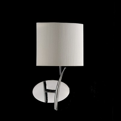 Светильник Mantra 1134 EVEсовременные бра модерн<br><br><br>S освещ. до, м2: 1<br>Тип лампы: накаливания / энергосбережения / LED-светодиодная<br>Тип цоколя: E27<br>Цвет арматуры: серебристый хром<br>Количество ламп: 1<br>Ширина, мм: 140<br>Размеры: W 185 H 335 Выступ<br>Длина, мм: 180<br>Высота, мм: 340<br>Оттенок (цвет): кремовый<br>MAX мощность ламп, Вт: 20