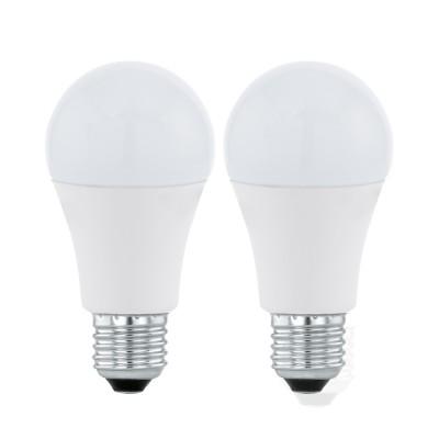 Eglo 11483 Лампа светодиодная A60, 2х9,5W (Е27), 3000K, 806lm, 2 шт. в комплектеСветодиодные лампы LED с цоколем E27<br><br><br>Цветовая t, К: WW - теплый белый 2700-3000 К<br>Тип лампы: LED<br>Тип цоколя: E27<br>MAX мощность ламп, Вт: 9.5