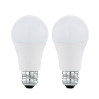 Eglo 11484 Лампа светодиодная A60, 2х11W (Е27), 3000K, 1055lm, 2 шт. в комплектеСтандартный вид<br><br><br>Цветовая t, К: 3000<br>Тип лампы: LED<br>Тип цоколя: E27<br>Количество ламп: 2<br>MAX мощность ламп, Вт: 12<br>Диаметр, мм мм: 60<br>Высота, мм: 115