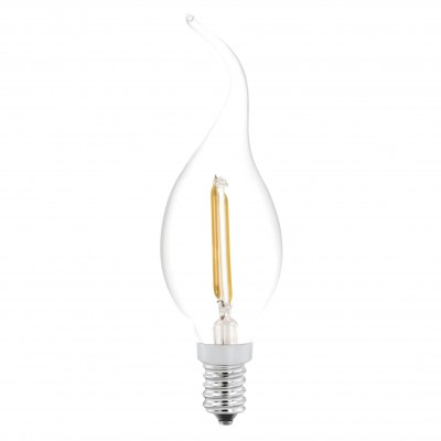 Eglo 11493 Лампа светодиодная филаментнаяCвеча на ветруFilament LED<br><br><br>Тип товара: Лампа светодиодная филаментнаяCвеча на ветру<br>Цветовая t, К: WW - теплый белый 2700-3000 К<br>Тип лампы: LED - светодиодная<br>Тип цоколя: E14<br>MAX мощность ламп, Вт: 2<br>Диаметр, мм мм: 37<br>Длина, мм: 121