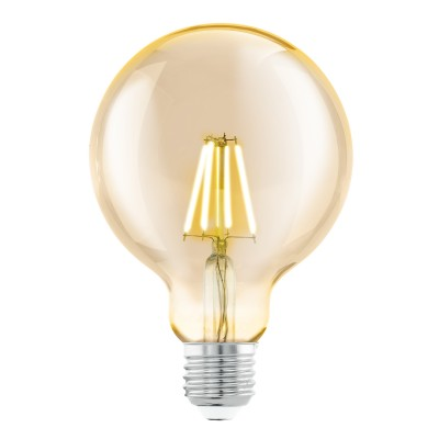 Eglo 11522 Cветодиодная лампа филаментная G95, 1х4W (E27), ?95, L145, 2200K, 330lm, янтарьРетро стиля<br><br><br>Цветовая t, К: WW - теплый белый 2700-3000 К (2200)<br>Тип цоколя: E27<br>MAX мощность ламп, Вт: 4
