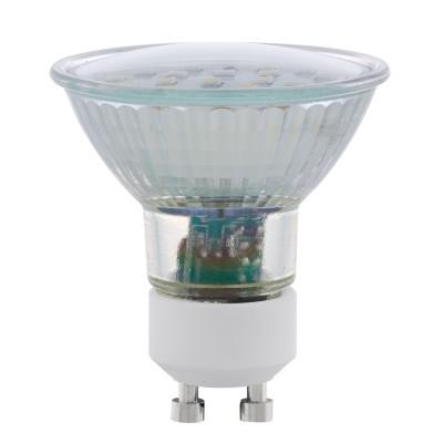 Eglo 11539 Лампа светодиодная SMD, 2х5W (GU10), 4000K, 400lm, 2 шт. в комплектеЗеркальные Gu10<br><br><br>Цветовая t, К: 4000<br>Тип лампы: LED<br>Тип цоколя: GU10<br>MAX мощность ламп, Вт: 5<br>Диаметр, мм мм: 56<br>Высота, мм: 58