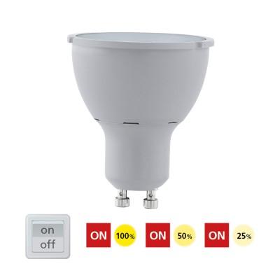 Eglo 11542 Лампа светодиодная 3 шага диммирования COB, 5W (GU10), 4000K, 400lmДиммируемые<br><br><br>Цветовая t, К: CW - холодный белый 4000 К<br>Тип лампы: LED<br>Тип цоколя: GU10<br>Диаметр, мм мм: 50<br>Высота, мм: 58<br>MAX мощность ламп, Вт: 5