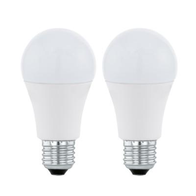 Eglo 11543 Лампа светодиодная A60, 2х5,5W (Е27), 3000K, 470lm, 2 шт. в комплектеСтандартный вид<br><br><br>Цветовая t, К: 3000<br>Тип лампы: LED<br>Тип цоколя: E27<br>Количество ламп: 2<br>Диаметр, мм мм: 60<br>Высота, мм: 109<br>MAX мощность ламп, Вт: 5.5